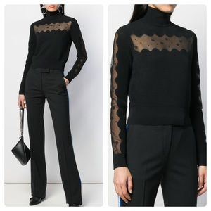2019 Alexander McQueen Ottoman Sheer Panel Sweater